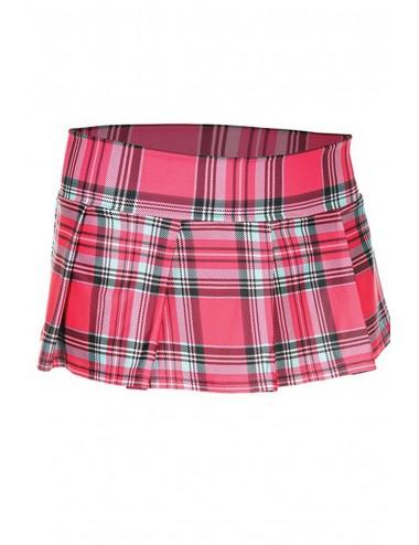 Lingerie - Robes et jupes sexy - Mini-jupe plissée rose vif style ecossais - ML25074HPK - Music Legs