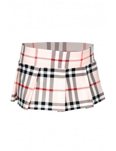Lingerie - Robes et jupes sexy - Mini-jupe plissée beige style ecossais - ML25074LBR - Music Legs