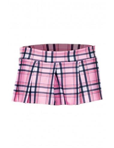 Lingerie - Robes et jupes sexy - Mini-jupe plissée rose style ecossais - ML25074PNK - Music Legs