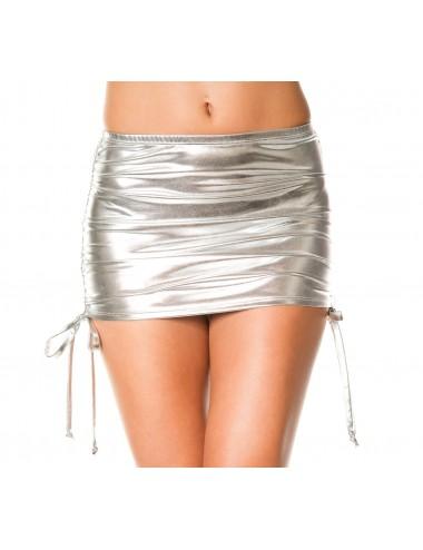 Lingerie - Robes et jupes sexy - Mini jupe droite, effet métallique, liens pour ajuster hauteur - ML154SIL - Music Legs