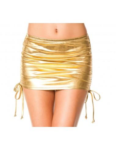 Lingerie - Robes et jupes sexy - Mini jupe droite, effet métallique, liens pour ajuster hauteur - ML154GLD - Music Legs