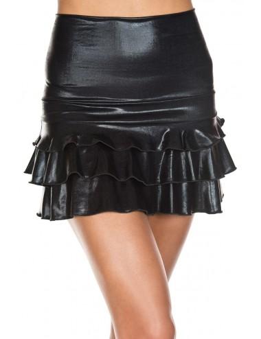 Lingerie - Robes et jupes sexy - Jupe droite avec froufrou sur deux bandes sur le bas - ML174BLK - Music Legs