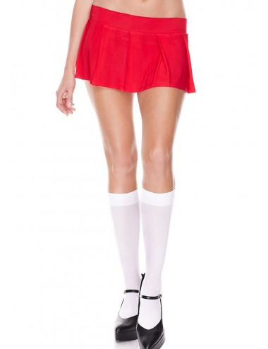Lingerie - Robes et jupes sexy - Mini-jupe plissée rouge uni - ML25075RED - Music Legs