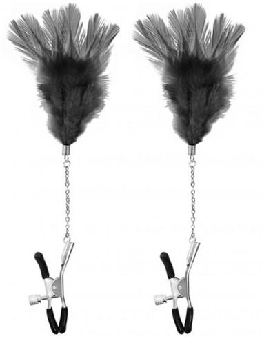 Pinces à seins pression réglable plumes noires - CC5700710010