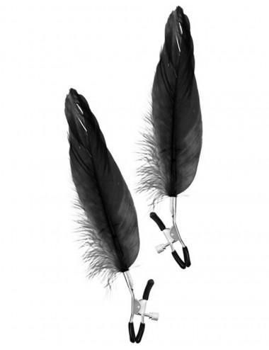 Pinces à seins pression réglable grande plume noire - CC5700700010