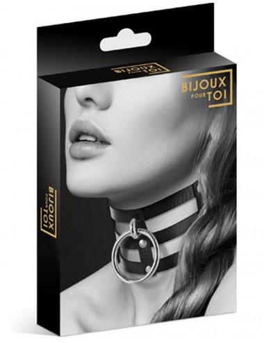 Collier en cuir noir SM triple lanière avec anneau métal argenté - CC6060060010