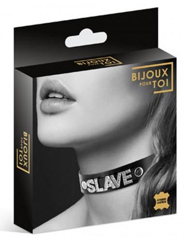 Sextoys - Bondage - SM - Collier en cuir noir SM avec Slave en strass - CC6050130010 - Bijoux Pour Toi
