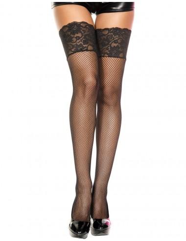 Lingerie - Bas - Bas résille noirs large jarretières dentelle - MH4920BLK - Music Legs