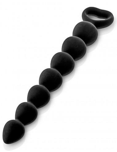 Sextoys - Godes & Plugs - Chapelet plug anal noire 27cm avec poignée de sécurité - CC5710042010 - Glamy
