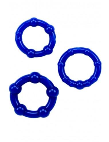 Sextoys - Anneaux, Cockring & Gaines - Pack 3 anneaux cockring bleus avec billes de stimulation - CR-COR005BLU - Dreamy Toys