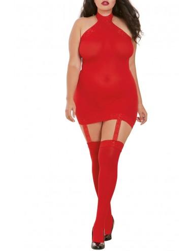 Bodystocking rouge grande taille effet guêpière avec dentelle - DG0035XRED