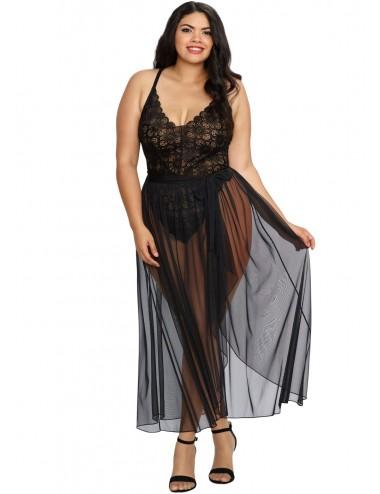 Body string noir grande taille échancré dentelle avec jupe de maille transparente amovible - DG10996XBLK
