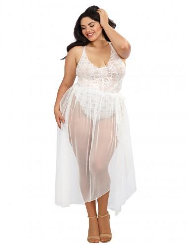 Body string grande taille blanc échancré dentelle avec jupe de maille transparente amovible - DG10996XWHT