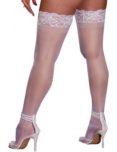 Bas blancs grande taille nylon autofixants jarretières dentelle - DG0005XWHT