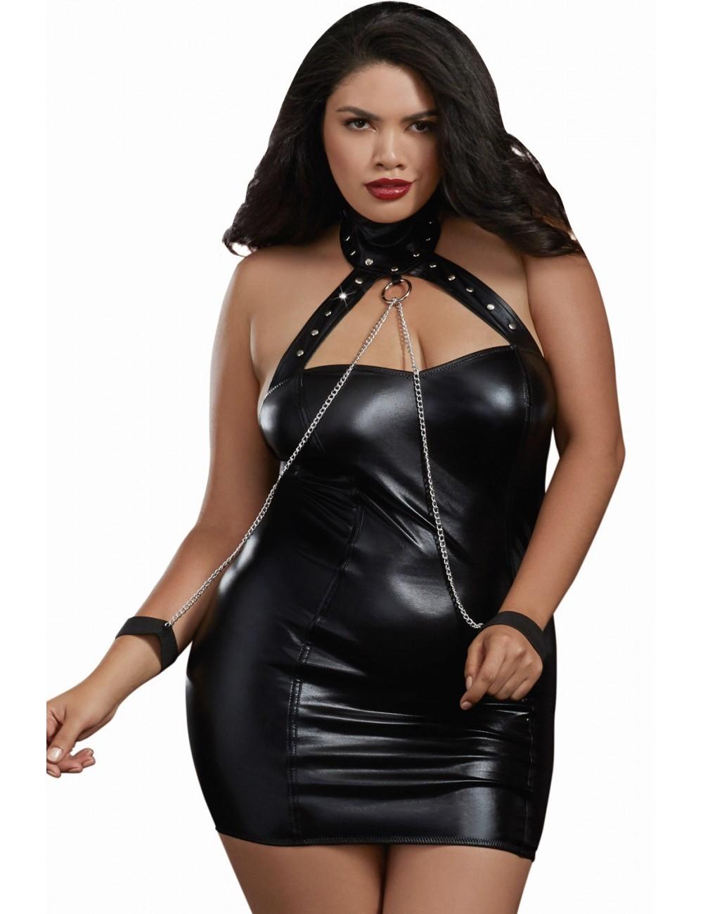 Lingerie - Fetish et cuir - Robe fétichiste grande taille simili cuir avec menottes et chaînes - DG11526XBLK - Dreamgirl