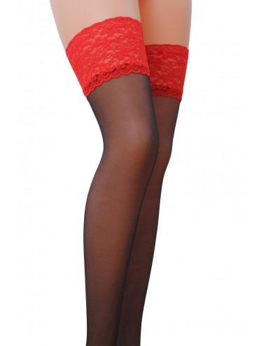 Lingerie - Bas - ST004 Bas 17 DEN - Rouge et Noir  - Passion Lingerie