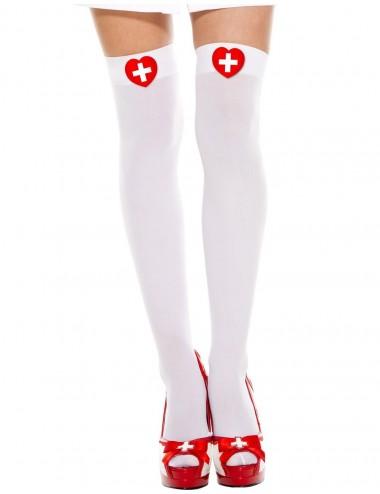 Lingerie - Bas - Bas sexy blancs d'infirmière - MH4648WHR - Music Legs