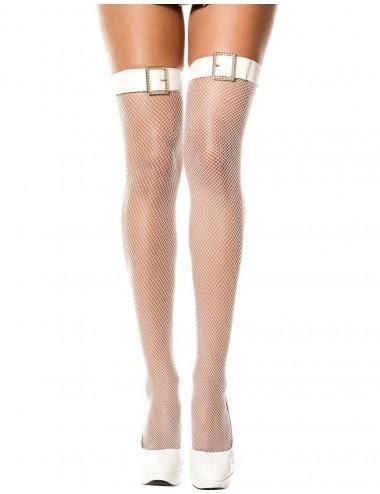 Lingerie - Bas Autofixants sexy - Bas blancs autofixants résille effet ceinture boucle avec strass - MH4952WHT - Music Legs