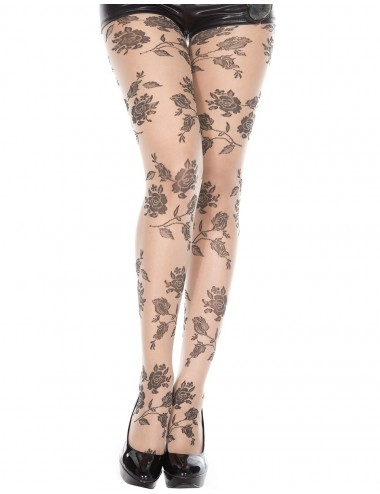 Lingerie - Collants - Collant chair fantaisie et fleurs noires - MH7095NUB - Music Legs