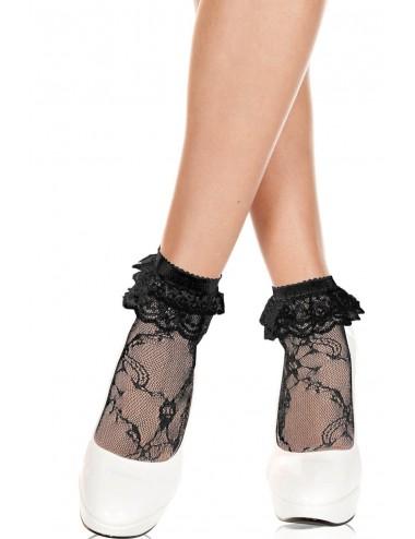 Lingerie - Bas - Chaussettes hautes en dentelle noire à volants - MH572BLK - Music Legs