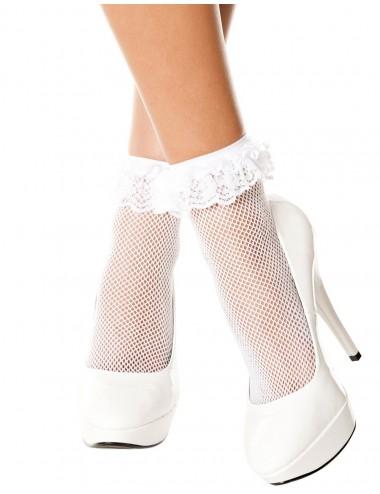 Lingerie - Bas - Socquettes blanches résille volant dentelle - MH597WHT - Music Legs