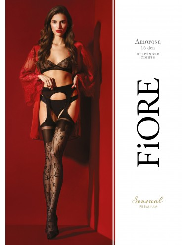 Lingerie - Collants - Amorosa Collants 30 DEN - Noir - Qualité premium - Fiore