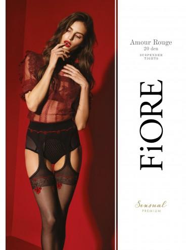 Lingerie - Collants - Amour Rouge Collants 20 DEN - Noir et Rouge - Qualité premium - Fiore