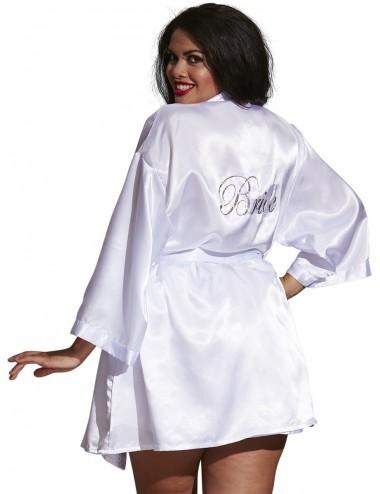 Lingerie - Nuisettes - Kimono satin, ceinture attachée, nuisette et cintre assorti - DG3717XWHT - Dreamgirl