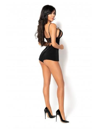 Lingerie - Bodys - Body sexy noire à tissu lisse et dos lacé Sarina - BN-5395 - Beauty Night