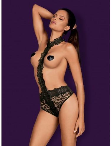 Lingerie - Bodys - Body en dentelle florale noire et motif léopard sur le culotte Crossita - Obsessive