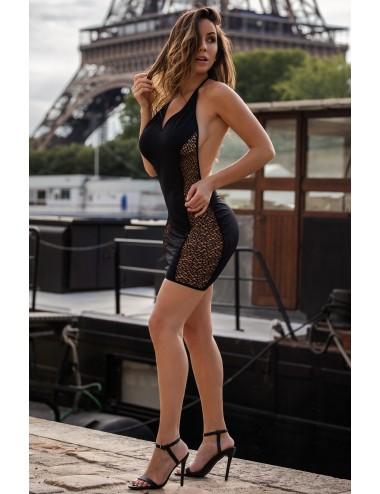 Robe sexy décolletée dos nu et résille - LDR5