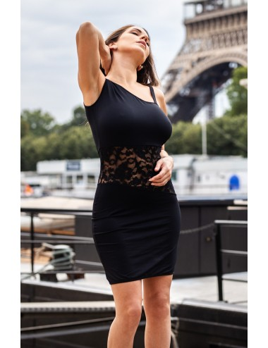 Lingerie - Robes et jupes sexy - Robe noire cocktail asymétrique mono bretelle avec dentelle - LDR3 - Look Me Dress