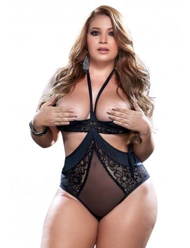 Lingerie - Bodys - Body, grande taille, sexy en dentelle et fine résille noire - MAL8546XBLK - Mapalé