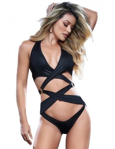 Lingerie - Bodys - Body sexy en tissu entrecroisé effet mouillé - MAL2646BLK - Mapalé