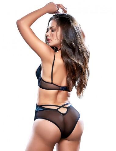 Lingerie - Ensembles de lingerie - Body sexy en dentelle et fine résille noire - MAL8546BLK - Mapalé