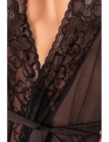 Lingerie - Ensembles de lingerie - Kimono noir en résille et dentelle florale, string assorti - MAL7348BLK - Mapalé