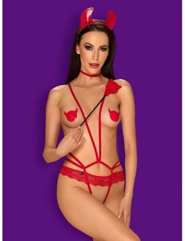 Lingerie - Bodys - Body sexy rouge à lanière et bretelle avec ouverture à l'entrejambe Evilia - Obsessive
