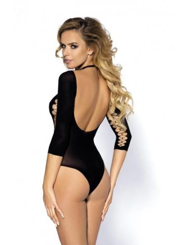 Lingerie - Bodys - Body ajouré noire avec manche longues et motif Muriel - Anaïs