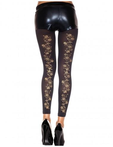 Lingerie - Leggings Sexy - Legging fin noir opaque avec fleurs dorées sur l'arrière - MH35821BLK - Music Legs