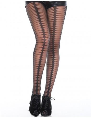 Lingerie - Collants - Collant fantaisie noir semi-opaque avec formes ovales - MH7176BLK - Music Legs