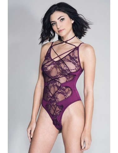 Lingerie - Bodys - Body bordeaux design dentelle, lanières en superposition - ML80045BUR - Music Legs
