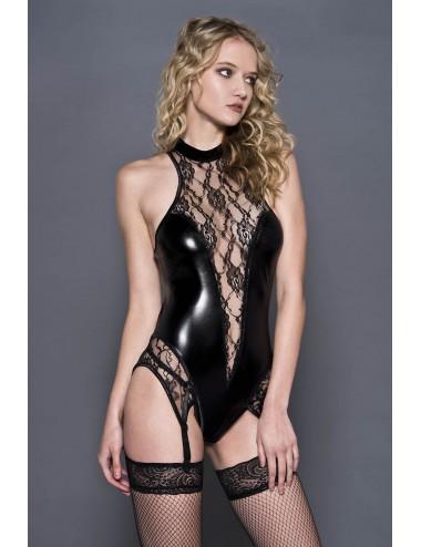 Lingerie - Bodys - Body simili cuir et dentelle avec jarretières - ML20051BLK - Music Legs