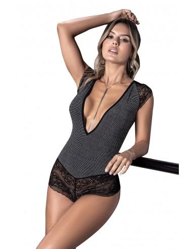 Lingerie - Bodys - Body sexy gris et décolleté en forme de V avec dentelle en bas - Mapalé