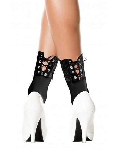 Lingerie - Bas - Socquettes noires dentelle à l'avant et lacées à l'arrière - MH548BLK - Music Legs