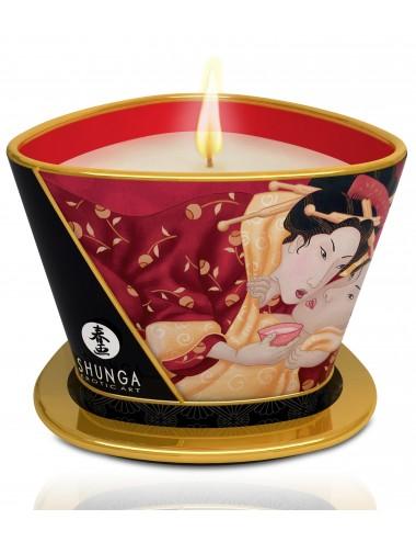 Bougie de massage lueur caresses - Romance Fraise pétillante - Bougies de massage - Shunga
