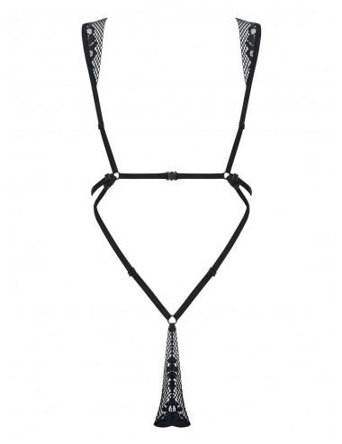Lingerie - Bodys - Body en dentelle noire transprente avec des lanières et sangle Figurea - Obsessive