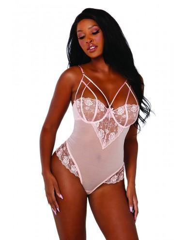 Lingerie - Bodys - Body rose avec dentelle - DG11814PNK - Dreamgirl