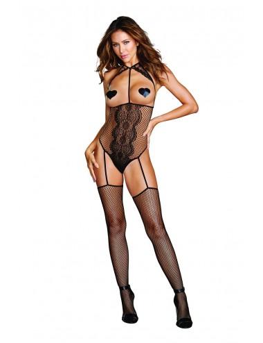 Lingerie - Combinaisons - Body résille seins nus et bas intégrés - DG0354BLK - Dreamgirl