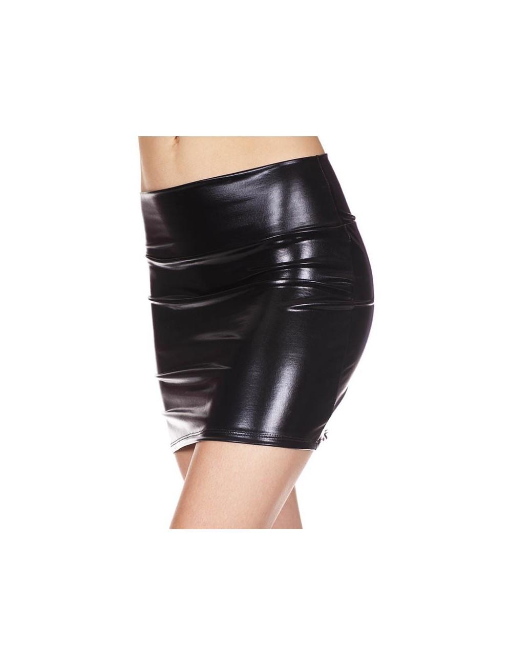 Lingerie - Robes et jupes sexy - Jupe droite, effet métallique - ML142BLK - Music Legs