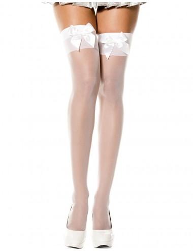Lingerie - Bas Autofixants sexy - Bas voile blanc autofixants avec noeuds satin sur jarretières - MH4125WHT - Music Legs